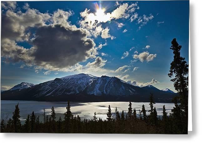 Frozen Tagish Lake And Mountains Greeting Card