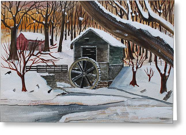 Frozen Water Wheel Greeting Card