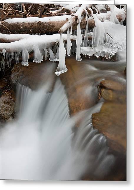 Frozen Waterfall In Valley Martelltal Greeting Card by Martin Zwick