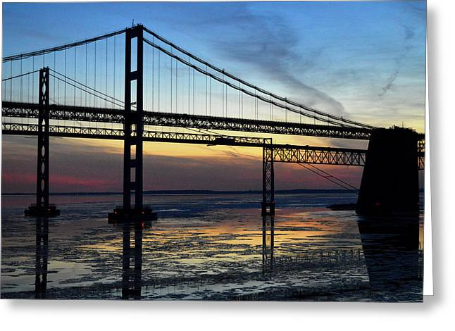 Greeting Card featuring the photograph Frozen Waters Under The Bay Bridge by Bill Swartwout