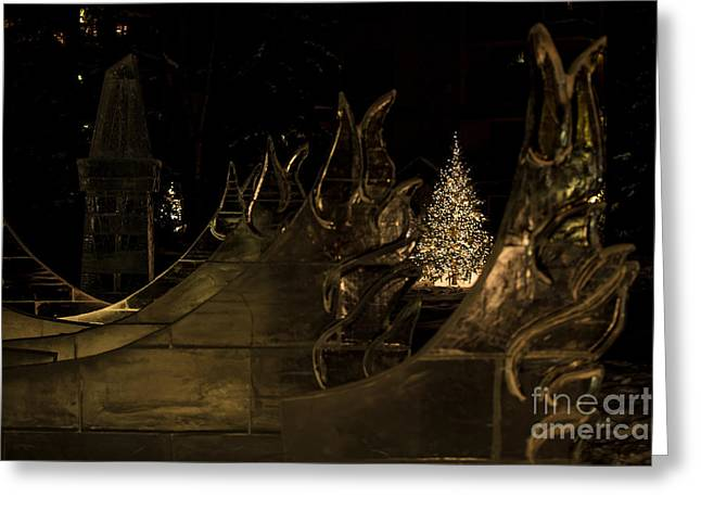 Frozen Waves And Xmas Tree Greeting Card