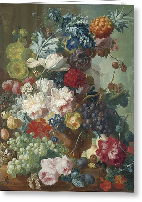 Fruit And Flowers In A Terracotta Vase Greeting Card by Jan van Os