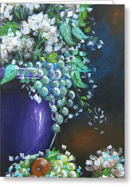 Greeting Card featuring the painting Fruit And Flowers Still Life by Patrice Torrillo
