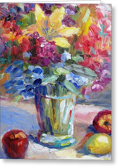 Fruit And Flowers Still Life Greeting Card