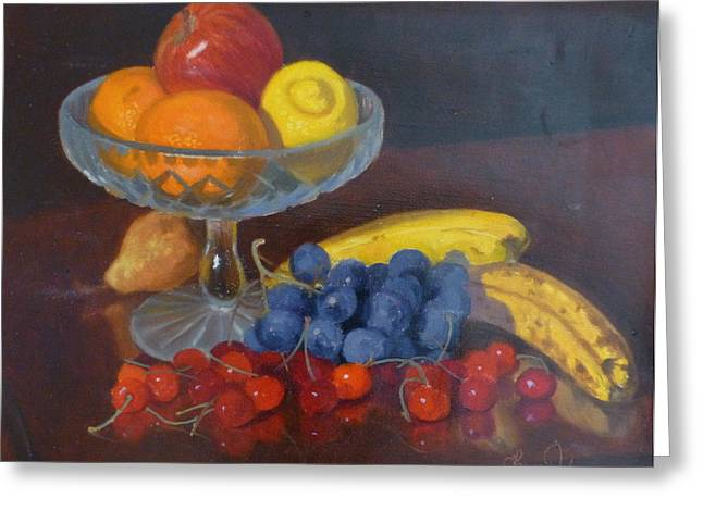 Fruit And Glass Greeting Card by Terry Perham