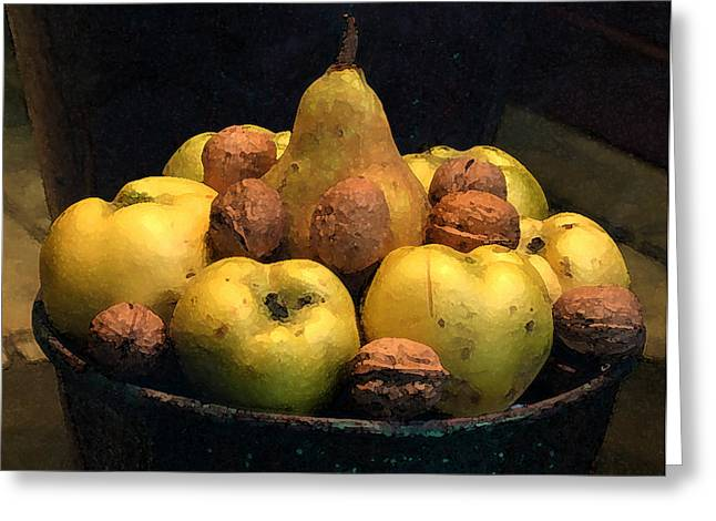 Fruit And Nut Bowl Greeting Card by Michael Riley