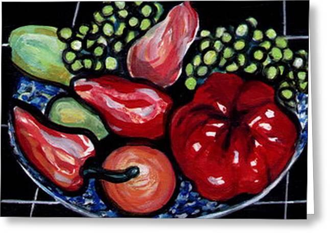 Greeting Card featuring the painting Fruit And Peppers by Joyce Gebauer