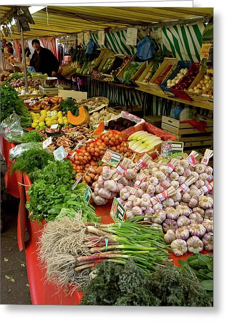 Fruit And Veg Market Greeting Card by Bob Gibbons