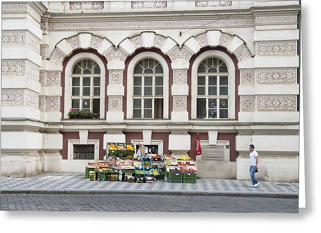 Fruit And Veg Stall On The Street In Prague Greeting Card