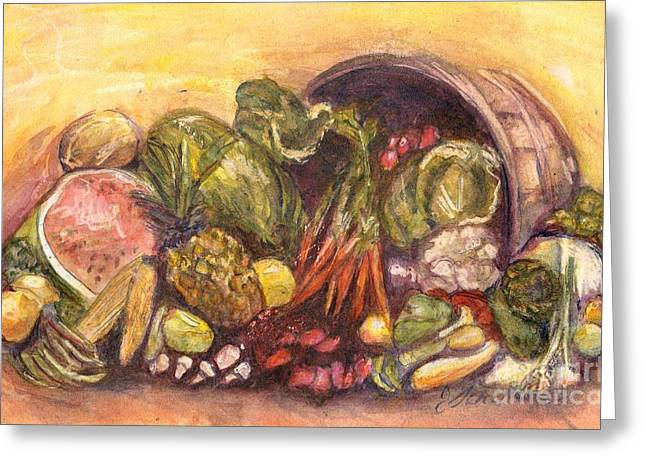 Fruit And Veggie Basket Greeting Card by Jodie  Scheller