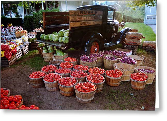 Fruit And Vegitable Stand Truck Greeting Card