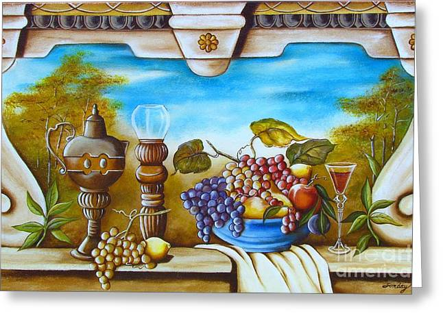 Fruit And Vino Greeting Card by Joseph Sonday