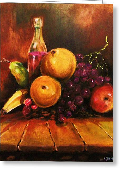Greeting Card featuring the painting Fruit And Wine by Al Brown