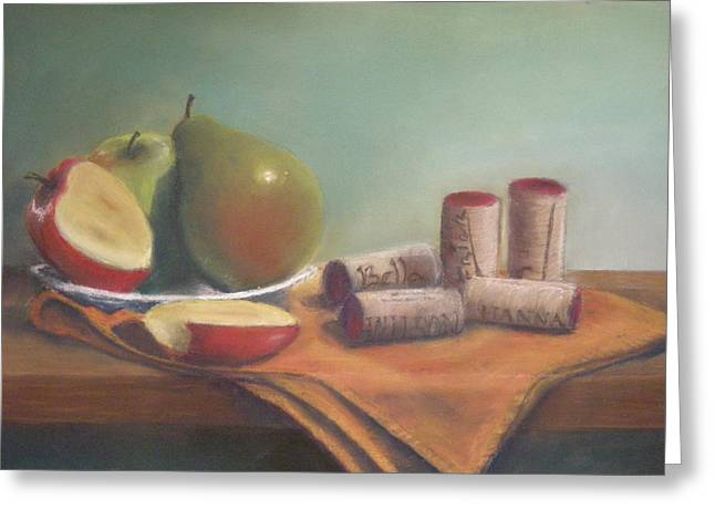 Fruit And Wine Corks Greeting Card by Ellen Minter