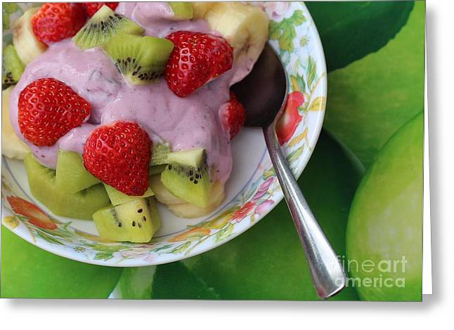 Fruit And Yogurt - Dessert - Food  Greeting Card by Barbara Griffin