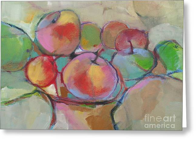 Greeting Card featuring the painting Fruit Bowl #5 by Michelle Abrams