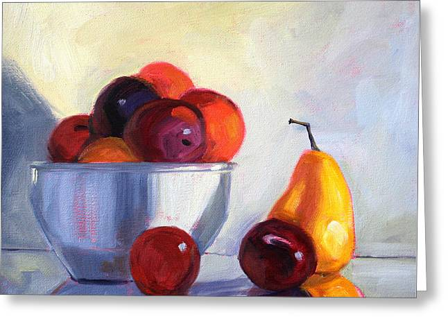 Fruit Bowl Greeting Card by Nancy Merkle