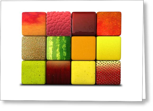 Fruit Cubes Greeting Card by Allan Swart