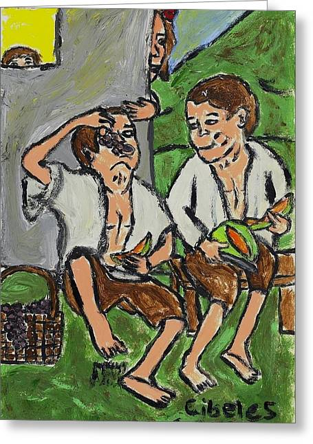 Fruit Eating Boys In Seville Greeting Card by Cibeles Gonzalez