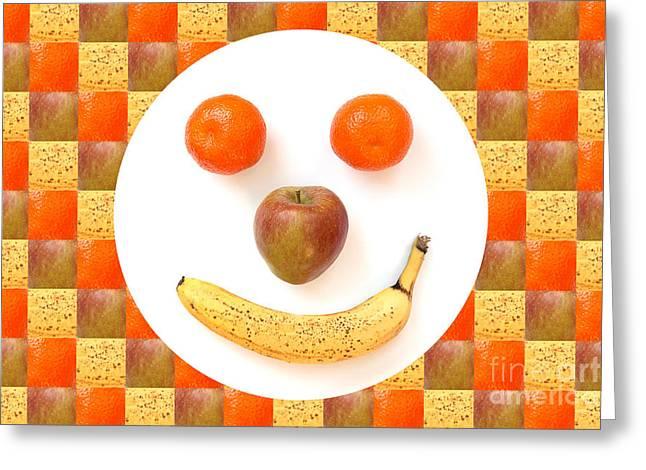 Fruit Face Greeting Card by Natalie Kinnear