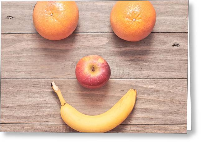 Amusing Greeting Cards - Fruit face Greeting Card by Tom Gowanlock
