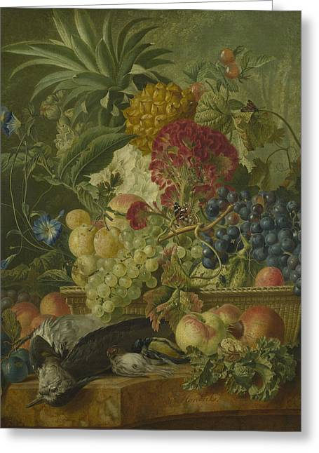 Fruit Flowers And Dead Birds Greeting Card by Wybrand Hendriks
