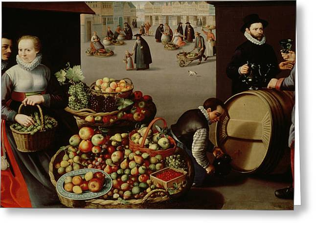 Fruit Market Greeting Card by Lucas van Valckenborch