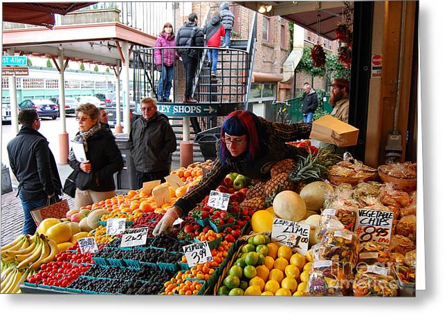 Fruit Market Vendor Greeting Card