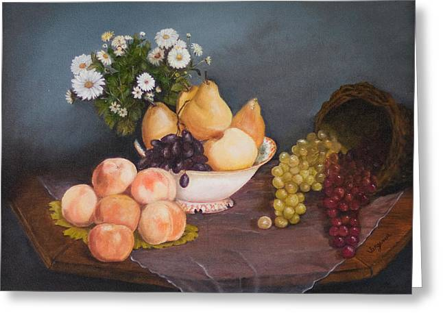 Fruit On Table Greeting Card by Virginia Butler
