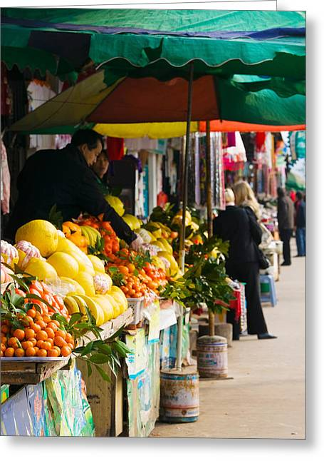 Fruit Stalls At A Street Market Greeting Card by Panoramic Images