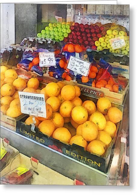 Fruit Stand Hoboken Nj Greeting Card by Susan Savad