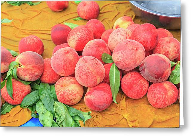 Fruit Stand Selling Fresh Peaches Greeting Card