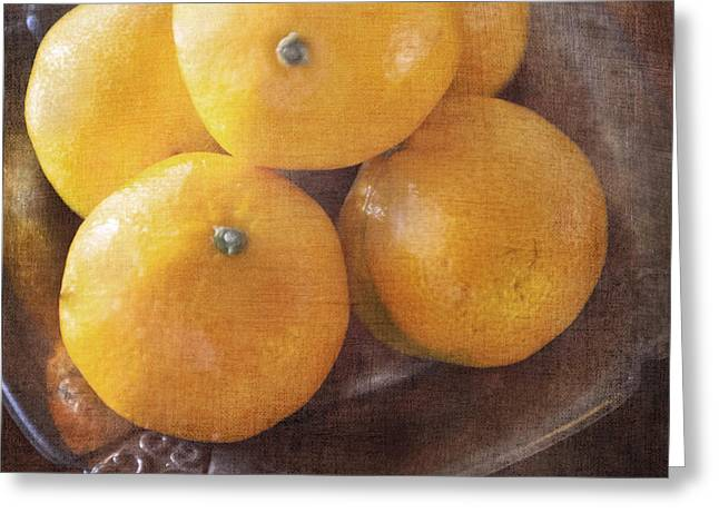 Fruit Still Life Oranges And Antique Silver Greeting Card