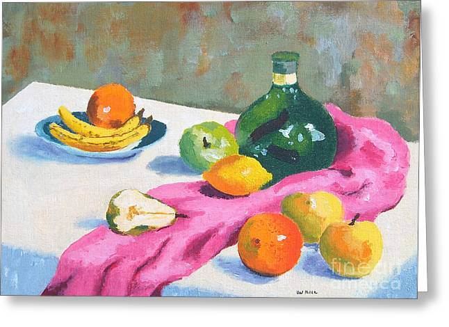 Greeting Card featuring the painting Fruit Still Life by Val Miller