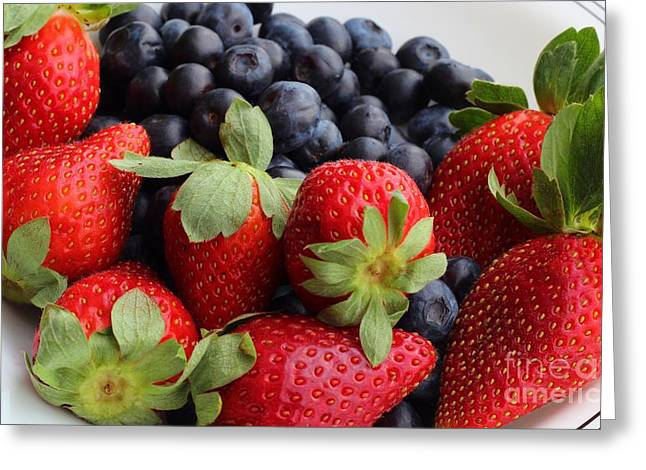 Fruit - Strawberries - Blueberries Greeting Card by Barbara Griffin