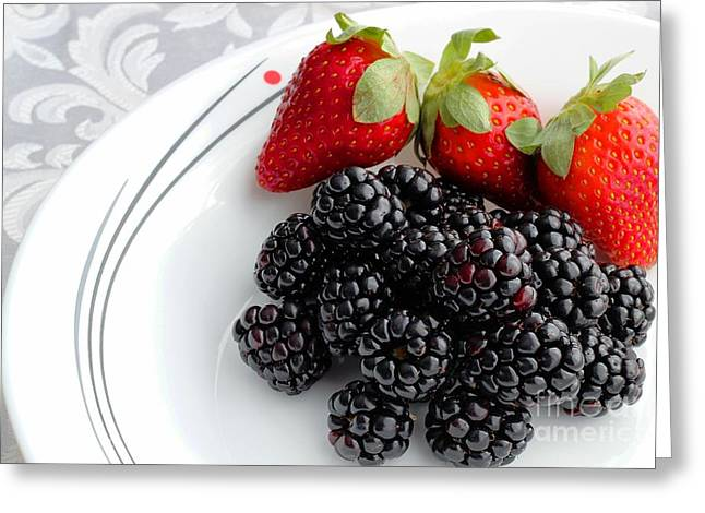 Fruit V - Strawberries - Blackberries Greeting Card by Barbara Griffin