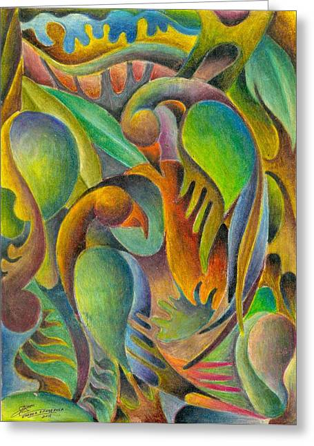Fruits And Birds  Greeting Card by Jaanaka Kandepola