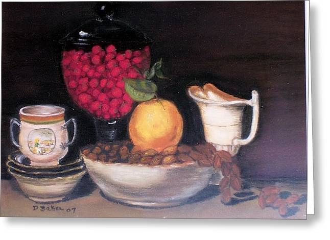 Fruits And Nuts Greeting Card by Debbie Baker
