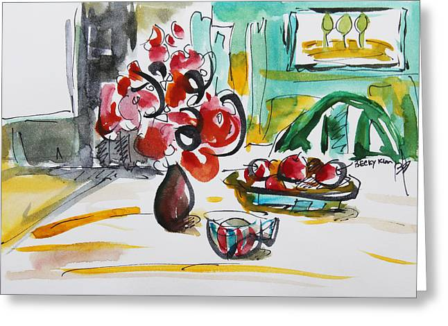 Fruits And Tea Greeting Card by Becky Kim