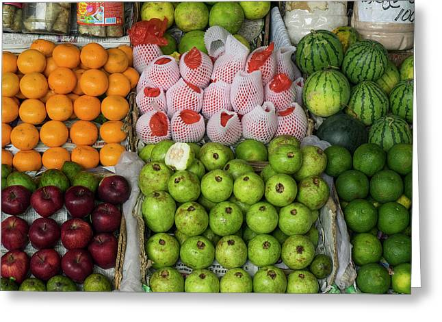 Fruits And Vegetables For Sale Greeting Card by Panoramic Images