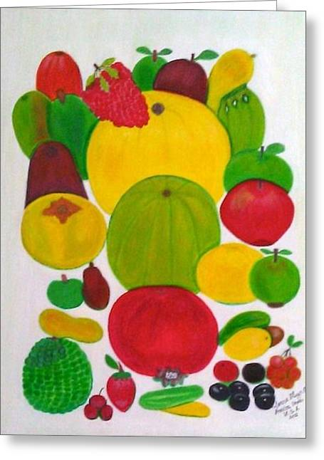 Greeting Card featuring the painting Fruits by Lorna Maza