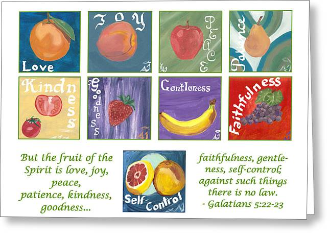 Fruits Of The Holy Spirit - White Background Greeting Card by Amber Joy Eifler