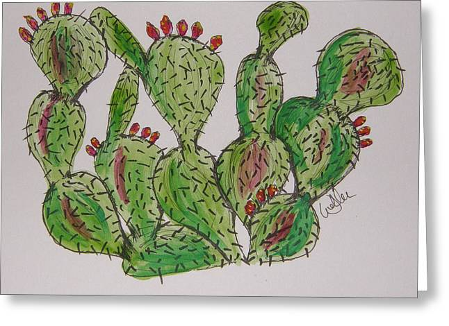 Fruity Prickly Pear Greeting Card by Marcia Weller-Wenbert