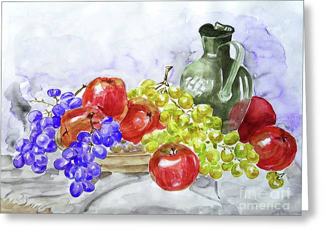 Greeting Card featuring the painting Fruit After Him by Jasna Dragun