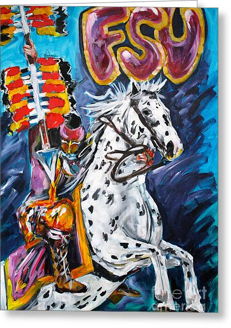 F.s.u. Mascot With Spear Greeting Card by Alan Metzger