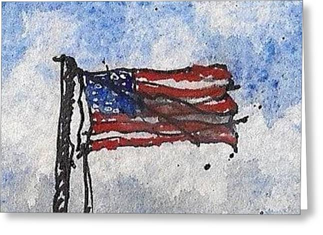 Greeting Card featuring the mixed media Ft. Barrancas Flag by Tim Oliver