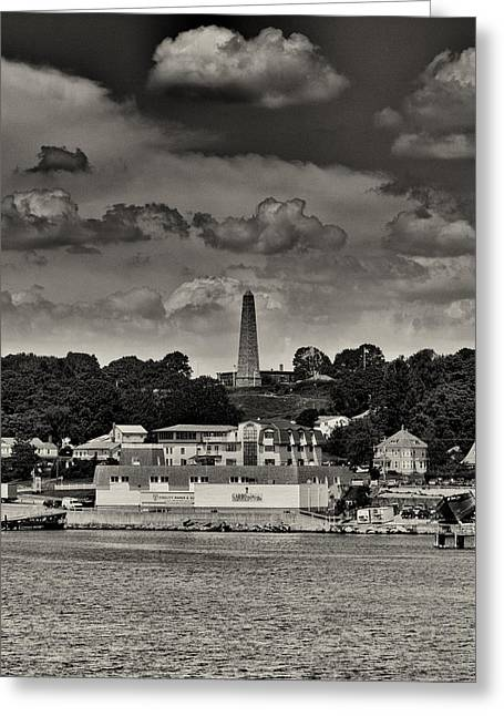 Ft Griswald Monument Black And White Greeting Card by Joshua House
