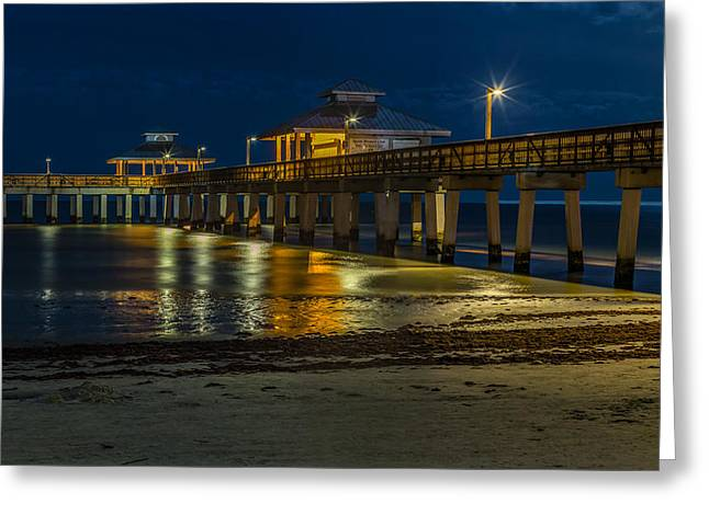 Ft. Myers Beach Pier Greeting Card by Capt Gerry Hare