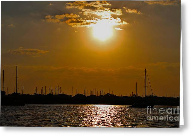 Greeting Card featuring the photograph Ft. Pierce Florida Docks At Dusk by Janice Rae Pariza