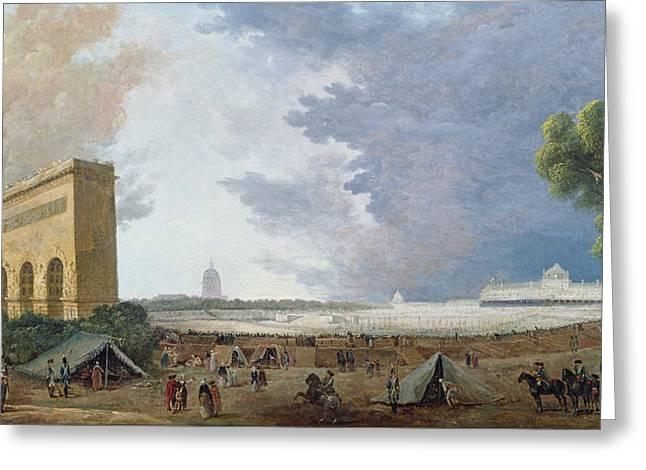 Fête De La Fédération On The Champ De Mars, 14 July 1790 Oil On Canvas Greeting Card by Hubert Robert